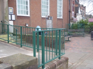 Freshly painted railings and steps at the recently reopened library