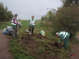Preparing bed for wildflower seeds at Oak Meadow