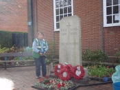 Ann working on the war memorial in preparation for Rememberance Sunday