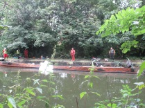Attempts to re-float the sunken canal boat