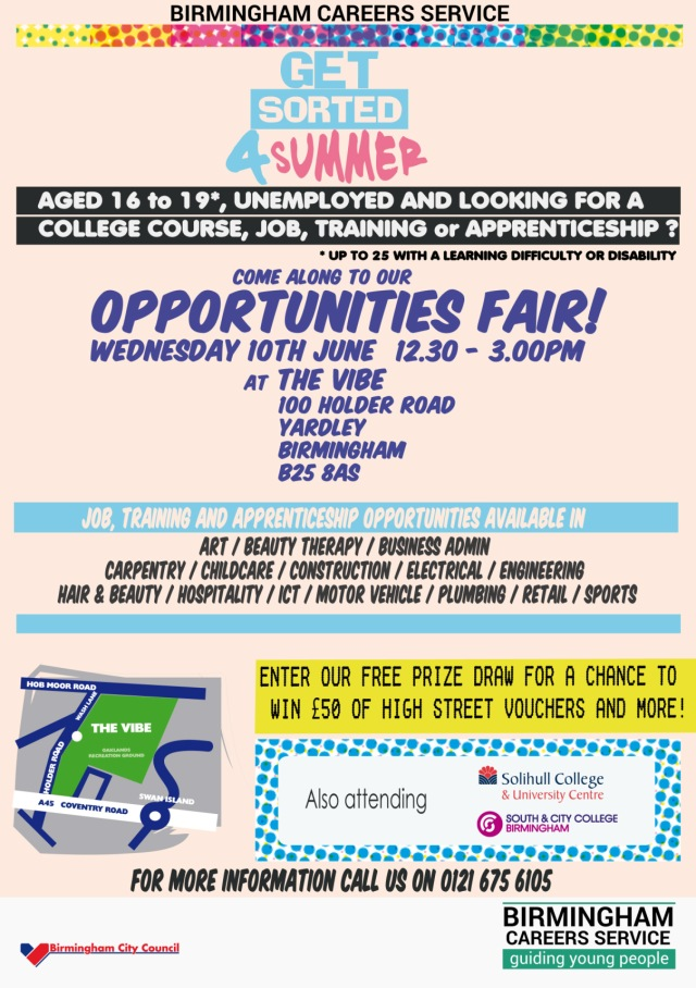 A5 BCS - Get Sorted 4 Summer Opportunities Fair flyer