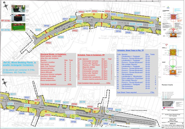 Detailed plan of tree and shrub planting on Acocks Green's Smart Route - Warwick Road.