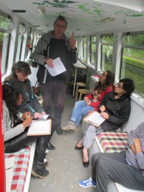 Local historian Mike Byrne talks about the canal history to passengers