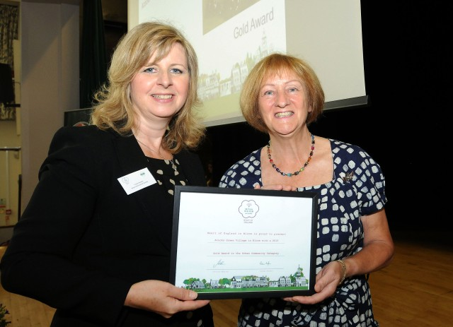 Fran Lee receiving the Gold Award on behalf of Acocks Green Village in Bloom Project