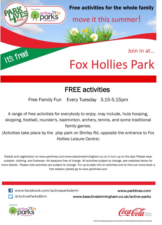 Fox Hollies Park FFF spring summer poster 2016-2