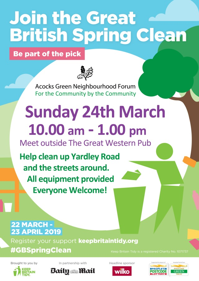 Spring Clean 2019 Yardley Road Poster