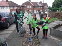 Litter-picking with locals