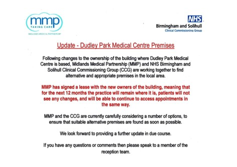 Dudley Park MMP surgery notice & updates Oct 2019