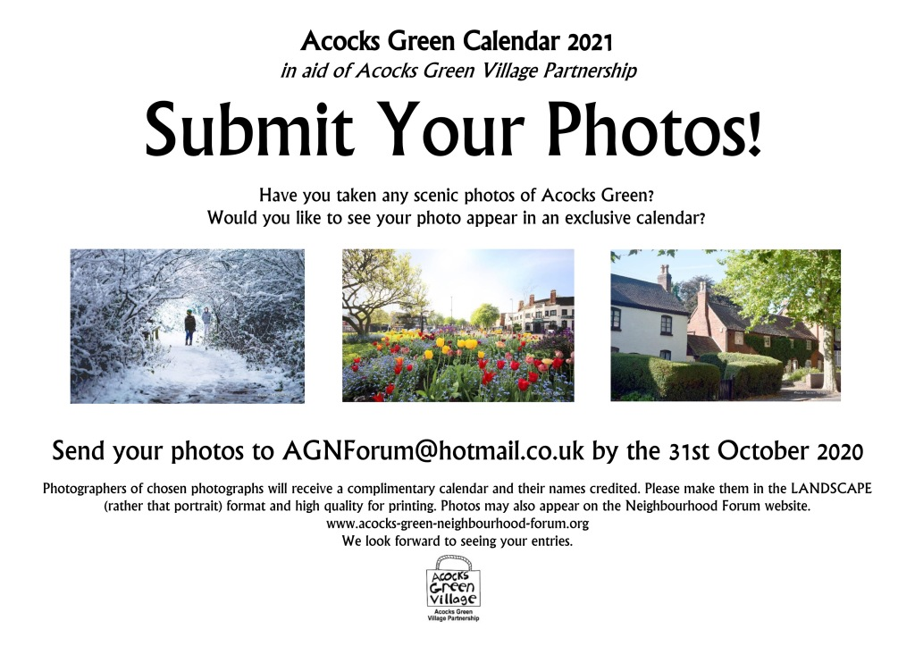 Advert asking for photo submissions for Acocks Green Calendar